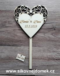 2D výøez svatební zápich srdce -zakázková výroba - zvìtšit obrázek