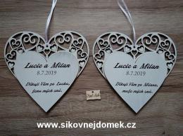Svatební srdce dekor vyřezávané 20x20cm-cena za ks - zvětšit obrázek