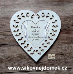 Svatební srdce - pokladnièka na peníze 22x22cm - zvìtšit obrázek