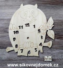 2D hodiny sova s èísly 22,5x21cm-BEZ HOD.STROJKU - zvìtšit obrázek