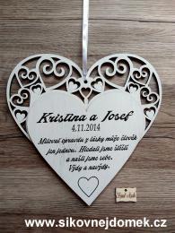 Svatební srdce dekor vyøezávané 23x23cm-cena za ks - zvìtšit obrázek