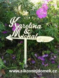 Zápich svatební jména na šípu-zakázková výroba - zvětšit obrázek