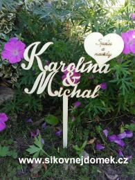 Zápich svatební jména+srdce s textem-zakázková výroba - zvìtšit obrázek