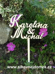 Zápich svatební jména - zakázková výroba - zvìtšit obrázek