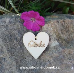 Jmenovka svatební na stùl srdíèko 4cm-zakázková výroba - zvìtšit obrázek