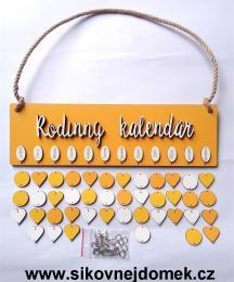 Sestava Rodinný kalendáø deska obdélník sluníèková barva,bílý nápis Rodinný kalendáø