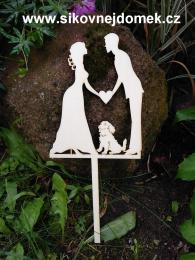 Zápich svatební nevěsta,ženich, retrívr-síla mat.0,4cm - zvětšit obrázek