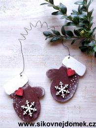 Rukavice vánoční hnědá vločka č.1 - zvětšit obrázek