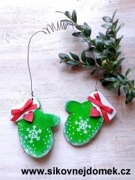 Rukavice vánoèní zelená vloèka è.1 tisk - zvìtšit obrázek