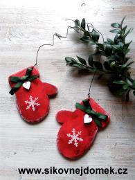 Rukavice vánoèní èervená vloèka è.1 tisk - zvìtšit obrázek