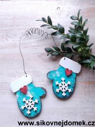 Rukavice vánoční tyrkys modrá vločka č.2 - zvětšit obrázek