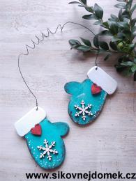 Rukavice vánoèní tyrkys modrá vloèka è.1 - zvìtšit obrázek