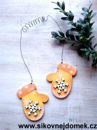 Rukavice vánoční žluto-oranž vločka č.2 - zvětšit obrázek