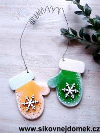 Rukavice vánoční žluto-zelená vločka č.1 - zvětšit obrázek