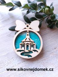 Vánoèní ozdoba koule v.6,7x5cm, kostel - tyrkys - zvìtšit obrázek
