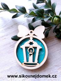 Vánoèní ozdoba koule v.6,7x5cm, lucerna - tyrkys - zvìtšit obrázek