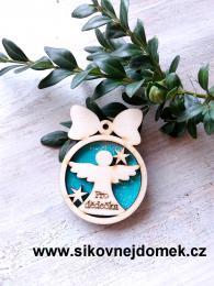Vánoční ozdoba koule v.6,7x5cm, anděl pro dědečka - tyrkys - zvětšit obrázek