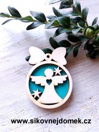 Vánoční ozdoba koule v.6,7x5cm, anděl č.1 srdce - tyrkys - zvětšit obrázek