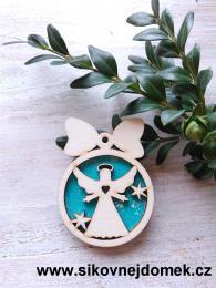Vánoční ozdoba koule v.6,7x5cm, anděl č.3 srdce - tyrkys - zvětšit obrázek
