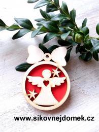 Vánoèní ozdoba koule v.6,7x5cm, andìl è.1 srdce - èervená - zvìtšit obrázek