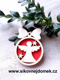 Vánoční ozdoba koule v.6,7x5cm, anděl čistý č.1 - červená - zvětšit obrázek