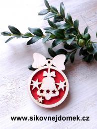 Vánoční ozdoba koule v.6,7x5cm, zvonek - červená - zvětšit obrázek