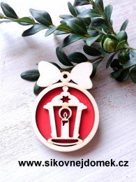 Vánoční ozdoba koule v.6,7x5cm, lucerna - červená - zvětšit obrázek