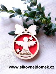Vánoční ozdoba koule v.6,7x5cm, anděl pro maminku - červená - zvětšit obrázek