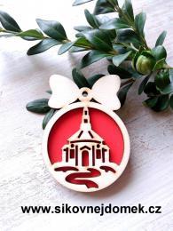 Vánoční ozdoba koule v.6,7x5cm, kostel - červená - zvětšit obrázek