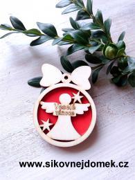 Vánoční ozdoba koule v.6,7x5cm, anděl Veselé Vánoce - červená - zvětšit obrázek