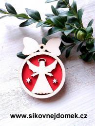 Vánoèní ozdoba koule v.6,7x5cm, andìl èistý è.3 - èervená - zvìtšit obrázek
