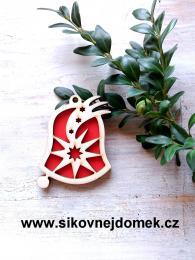 Vánoèní ozdoba zvonek - v.6,7x5,4cm - èervená - zvìtšit obrázek