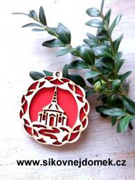 Vánoèní ozdoba kostel ozd. v.6,7x6,4cm - èervená - zvìtšit obrázek