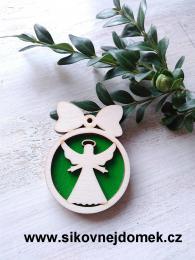 Vánoční ozdoba koule v.6,7x5cm, anděl čistý č.3 - zelená - zvětšit obrázek