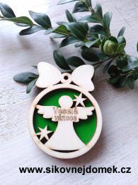 Vánoèní ozdoba koule v.6,7x5cm, andìl Veselé Vánoce - zelená
