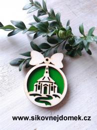 Vánoční ozdoba koule v.6,7x5cm, kostel - zelená - zvětšit obrázek