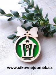 Vánoèní ozdoba koule v.6,7x5cm, lucerna - zelená