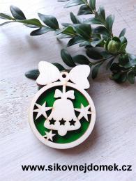 Vánoèní ozdoba koule v.6,7x5cm, zvonek - èervená  Vánoèní ozdoba koule v.6,7x5cm, zvonek - zelená