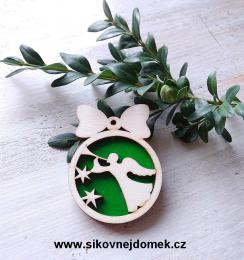Vánoční ozdoba koule v.6,7x5cm, anděl s trubkou - zelená - zvětšit obrázek