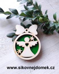 Vánoční ozdoba koule v.6,7x5cm, anděl č.1 srdce - zelená - zvětšit obrázek