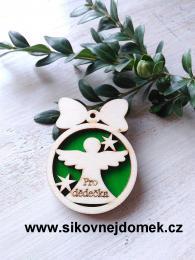 Vánoční ozdoba koule v.6,7x5cm, anděl pro dědečka - zelená - zvětšit obrázek