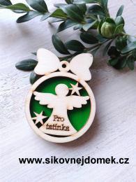 Vánoční ozdoba koule v.6,7x5cm, anděl pro tatínka - zelená - zvětšit obrázek