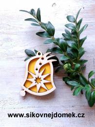 Vánoční ozdoba zvonek - v.6,7x5,4cm - žlutá - zvětšit obrázek