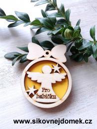Vánoèní ozdoba koule v.6,7x5cm, andìl pro babièku - žlutá