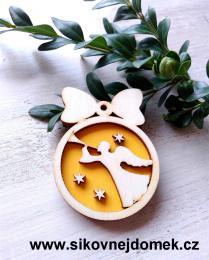 Vánoční ozdoba koule v.6,7x5cm, anděl s trubkou - žlutá - zvětšit obrázek