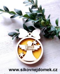 Vánoèní ozdoba koule v.6,7x5cm, andìl Veselé Vánoce - žlutá