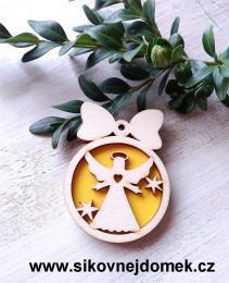 Vánoèní ozdoba koule v.6,7x5cm, andìl è.3 srdce - žlutá