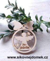 Vánoèní ozdoba koule v.6,7x5cm, andìl pro dìdeèka  - zvìtšit obrázek