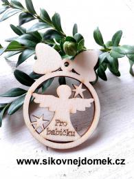 Vánoèní ozdoba koule v.6,7x5cm, andìl pro babièku  - zvìtšit obrázek