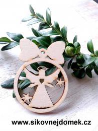 Vánoční ozdoba koule v.6,7x5cm, anděl č.3 srdce - zvětšit obrázek